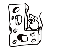 printable letter l cheese and mouse coloring page from