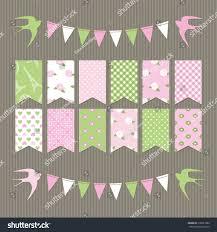 Pretty Bunting Flags Cute Scrapbook Design Elements Set Bunting Stock Vector 176621882