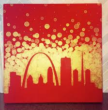 st louis missouri skyline painting cardinals fan gift stl