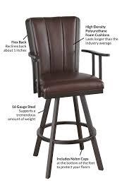 callee bogart flex swivel bar stool with back u0026 reclining motion