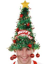 christmas tree hat tinsel christmas tree hat with baubles christmas pinteres