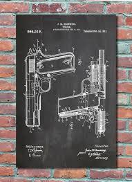 Wall Blueprints by Browning Colt 45 1911 Handgun Wall Art Patent Print