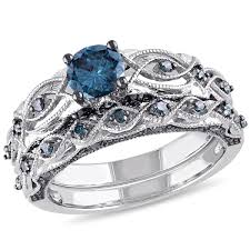 blue diamond wedding rings 1 ctw blue diamond bridal set ring in black rhodium 10k white