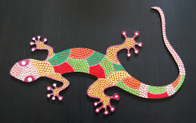 lizard gecko g 07 animal mdf painted dot art by mandalaole on