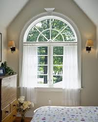 Arch Window Curtain Arched Window Treatments Bedroom Mediterranean With Dark Wood Bed