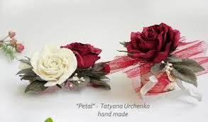 Wedding Wrist Corsage Marsala Rose Bride Flower Comb Red Rose Hair Accessory Wrist