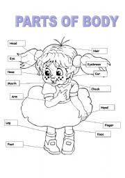 esl kids worksheets parts of body