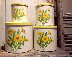 sunflower canister sets kitchen set of canisters etsy