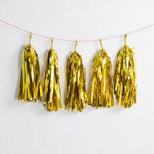 metallic gold tissue paper tassel garland kit 5 pack on sale from