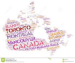 Canmore Canada Map by Canada Top Travel Destinations Word Cloud Stock Illustration