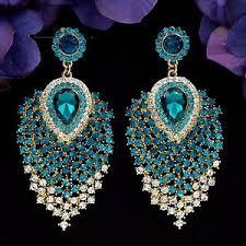 peacock feather earrings s 18k gp blue peacock feathers chandelier dangle ear