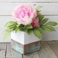 Copper Flower Vase Diy Faux Copper Patina Vase Arrangement The Happy Housie