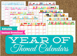 printable 12 month planner 2015 monthly themed calendar set 12 editable printable calendars
