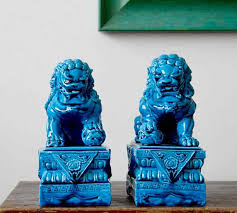 blue foo dogs one pair ceramic procelain foo dog foo lion in statues