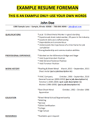 Roofing Resume Examples by Foreman Resume Sample Resumedoc