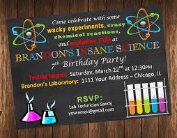 insane science birthday party invitation science laboratory