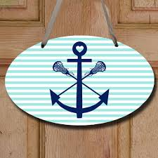 lacrosse sticks anchor decorative oval sign lacrosse wood signs