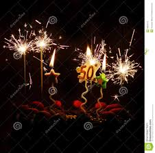 sparkler candles for cakes 50th birthday celebration cake sparklers candles stock image