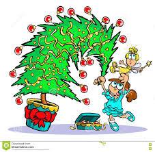 decorating christmas tree cartoon stock photo image 76372310