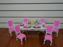 pink dining room chairs amazon com gloria barbie doll sized grand dining room furniture