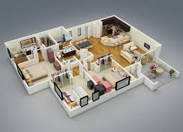 One Floor House by 25 More 3 Bedroom 3d Floor Plans 3d Bedrooms And 3d Interior Design