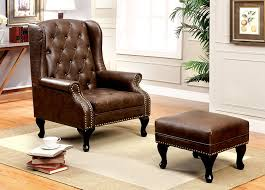 Leather Reading Chair And Ottoman Amazon Com Furniture Of America Elmas Traditional Leatherette