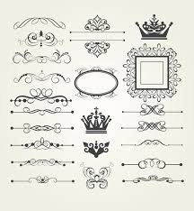 vintage ornaments and frame with crown vector vector frames