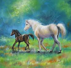 white mustang horse white horse paintings vickie wade fine art