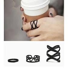 black finger rings images Buy funky jewellery 3 mid finger rings set black online at best jpg