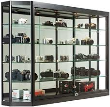 display cabinet with glass doors amazon com glass display cabinet illuminated angled front