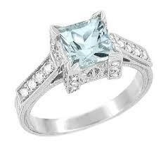 art deco 3 4 carat princess cut aquamarine engagement ring in 18k