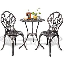 Outside Table And Chair Sets 3 Pcs Cast Aluminum Outdoor Table And Chair Set Outdoor