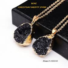 gold color necklace images Gold color raw stone pendant necklace for women quartz necklace png