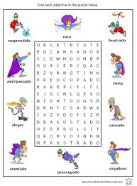 free printable spanish adjectives search a word puzzle worksheet