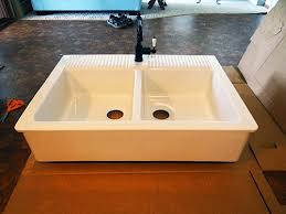Ikea Sink With Non Ikea Faucet One Project At A Time Diy Blog Installing An Ikea Domsjo Sink