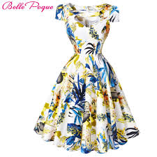 vintage cocktail party illustration poque summer dress women 2017 pin up womens floral dresses retro