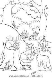 coloring pages wild animals three little stock vector 548440645