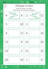 greater or less math practice worksheet grade 1 teachervision