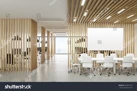 open office interior wooden partitions new stock illustration