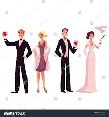 people 1920s style cocktail dresses vintage stock vector 529376275