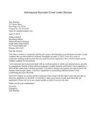 sample cover letter for recruiter job guamreview com