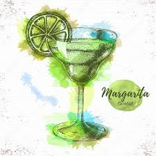 cocktail sketch watercolor cocktail margarita sketch cocktail vector illustration