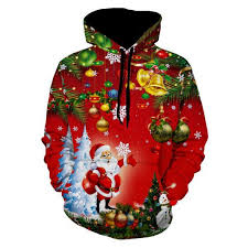 wholesale santa christmas tree jingle bells christmas hoodie l red