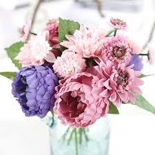 dahlias flowers silk dahlias flowers with artificial flowers peony bouquet for