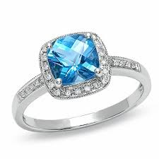 engagement rings topaz images Cushion cut blue topaz and diamond accent engagement ring in 14k jpg