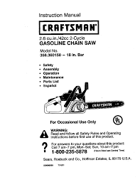 craftsman 358 360150 instruction manual