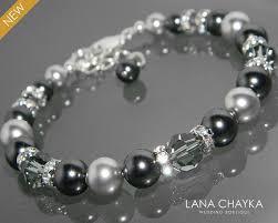 crystal pearl bracelet swarovski images Black light gray pearl bracelet swarovski black gray pearl black jpg