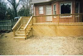 custom deck with built in seating u0026 classic lattice closure off