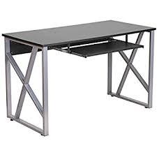 Metal Computer Desks Amazon Com King U0027s Brand 2950 Glass And Metal Home Office Computer