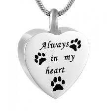 pet ashes necklace cremation pendant that holds ashes necklace always in my heart